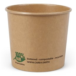 "Salad Bowl Brown Cardboard Round ""100% FAIR"" 300ml Ø 92mm"