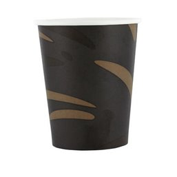 "Coffee Cups Black Brown Cardboard 200ml 8oz Ø 80mm ""Surfer"""
