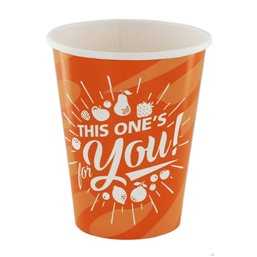 "Milkshake Bekers 300ml Oranje Karton ""For You"" Ø 92 x 108mm"