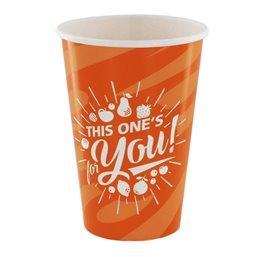 "Milkshake Cups Orange Cardboard 400ml Ø 92mm ""For You"""