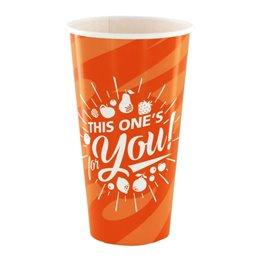 "Milkshake Cups Orange Cardboard 500ml Ø 92mm ""For You"""