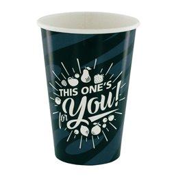 "Milkshake Cups Grey Black Cardboard 400ml Ø 92mm ""For You"""