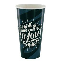 "Milkshake Cups Grey Black Cardboard 500ml Ø 92mm ""For You"""