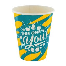 "Milkshake Bekers 300ml Geel Blauw Karton ""For You"" Ø 92 x 108mm"