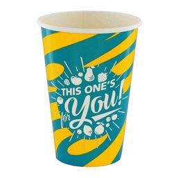 "Milkshake Cups Yellow Blue Cardboard 400ml Ø 92mm ""For You"""