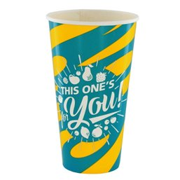 "Milkshake Cups Yellow Blue Cardboard 500ml Ø 92mm ""For You"""