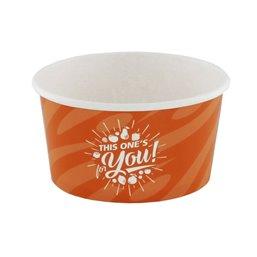 "Ice Cream Cups Orange Cardboard 170ml Ø 92mm ""For You"""