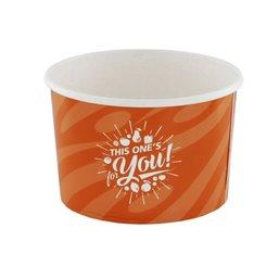 "Ice Cream Cups Orange Cardboard 200ml Ø 92mm ""For You"""
