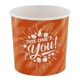 "Ice Cream Cups Orange Cardboard 250ml Ø 92mm ""For You"""
