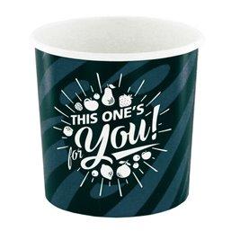 "Ice Cream Cups Grey Black Cardboard 250ml Ø 92mm ""For You"""