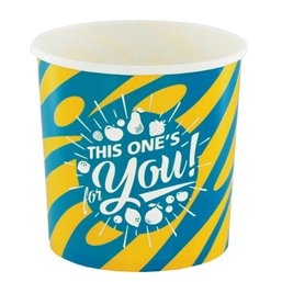 "Ice Cream Cups Yellow Blue Cardboard 250ml Ø 92mm ""For You"""