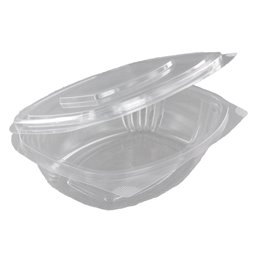 Salad Bowl Rectangular with Secure Lid PLA 750ml 164 x 205 x 60mm Transparent
