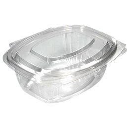 Salad Bowl Rectangular with Secure Lid PLA 500ml 159 x 126 x 63mm Transparent