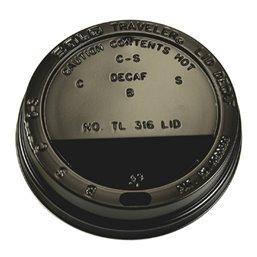 Deksels voor Koffiebekers To Go Zwart PS 12-16-20oz Ø 90mm