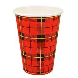 "Coffee Cups Red Cardboard 180ml Ø 70,3mm ""Tartan"""