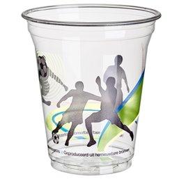 """Drinkbekers 300ml """"Pure"""" PLA Glashelder met Schuimkraag """"voor Koude Dranken Football"""" Ø 95 x 110mm"""