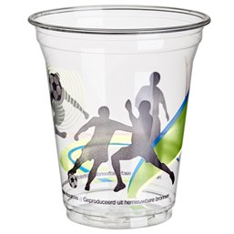 "Drinking Cups PLA ""Pure"" 300ml Ø 95mm 11cm Crystal clear with foamhead ""For cold drinks Football"""