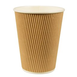 "Cardboard Drinking Cups ""Pure"" 300ml Ø 90mm 11cm ""Ripple Wall"""
