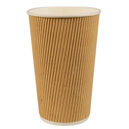 "Cardboard Drinking Cups ""Pure"" 400ml Ø 90mm 13,7cm ""Ripple Wall"""