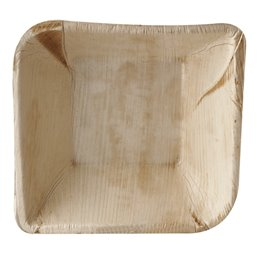 "Palm Leaf Trays ""Pure"" Rectangular 300ml 14 x 14 x 4,5cm"