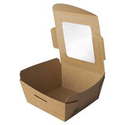 "Saladebakken 350ml Karton en PLA ""100% Fair"" 90 x 90 x 45mm"