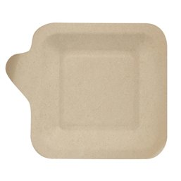 """Amuse Trays made of Sugarcane  """"Pure"""" Rectangular 11,3cm x 11,3cm Natural with handle"""