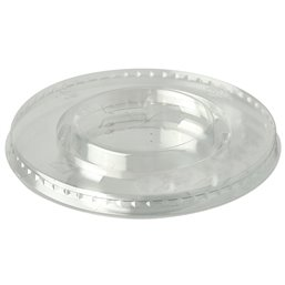 """Lids PLA """"Pure"""" Round Ø 95mm Crystal clear with Cross hole"""