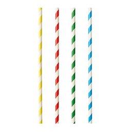 "Milkshake Rietjes Papier ""Pure"" Kleuren Assortiment ""Stripes"" Ø 8 x 210mm"
