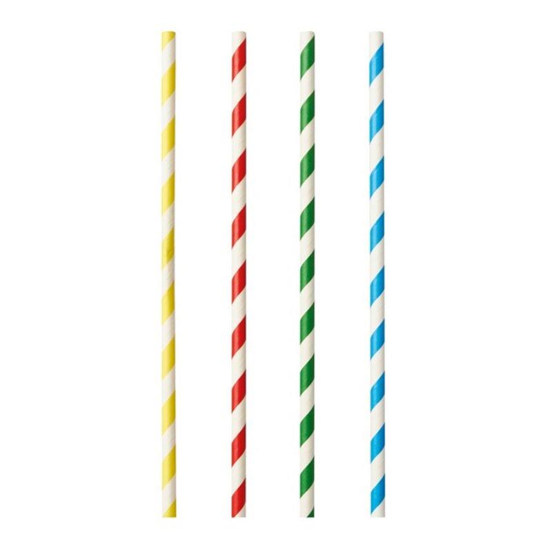 """Milkshake Rietjes Papier """"Pure"""" Kleuren Assortiment """"Stripes"""" Ø 8 x 210mm Horecavoordeel.com"""
