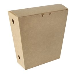 """Fries Cones Cardboard """"Pure"""" 1200ml 430 x 145 x 110mm Brown with fixed Lid"""