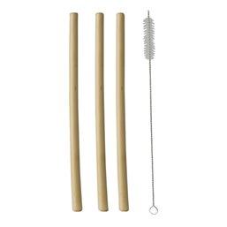 """Drink Rietjes van Bamboe """"Pure"""" Inclusief schoonmaak borsteltje Ø 10 x 230mm"""