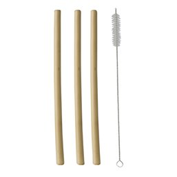 "Drink Straws Bamboo ""Pure"" Ø 10mm x 23cm cleaningbrush included"