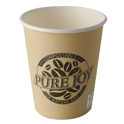 "Drinking Cups Cardboard ""Pure"" 200ml Ø 80mm 9,2cm Cream ""Pure Joy"""