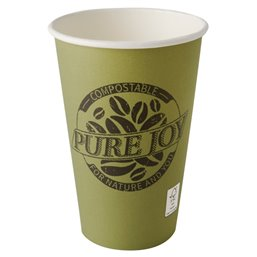 "Drinking Cups Cardboard ""Pure"" 300ml Ø 80mm 11,7cm Green ""Pure Joy"""