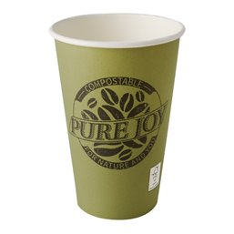 "Cardboard Drinking Cups ""Pure"" 300ml Ø 80mm 11,7cm Green ""Pure Joy"""