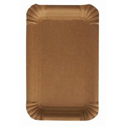 "Cardboard Plates ""Pure"" Rectangular 100 x 160mm Brown"