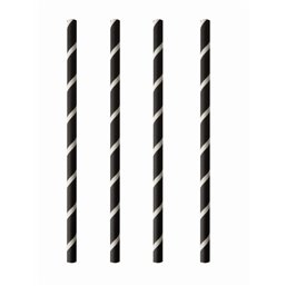 "Milkshake Paper Straws ""Pure"" Ø 8mm x 20cm Black White ""Stripes"""