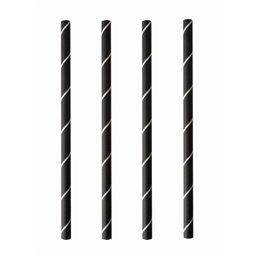 "Cocktail Drinkrietjes Papier Zwart - Wit ""Pure"" ""Stripes"" Ø 70 x 150mm"