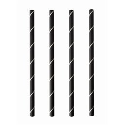 "Cocktail Paper Straws ""Pure"" Ø 7mm x 15cm Black White ""Stripes"""