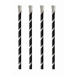 "Straws With spoon Paper ""Pure"" Ø 8mm x 20cm Black White ""Stripes"""