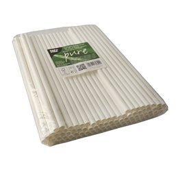 "Milkshake Paper Straws ""Pure"" Ø 8mm x 25cm White"