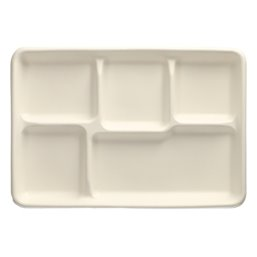 "Menu Trays Sugarcane ""Pure"" Rectangular 5-compt. 216 x 317 x24mm White"