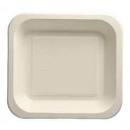 "Topseal Menu Trays Sugarcane ""Pure"" Rectangular 245 x 265 x 42mm White"