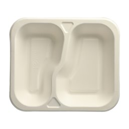 "Topseal Menu Trays Sugarcane ""Pure"" Rectangular 2-compt. 245 x 265 x 42mm White"