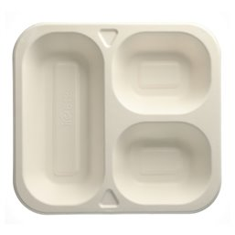"Topseal Menu Trays Sugarcane ""Pure"" Rectangular 3-compt. OVAL 245 x 265 x 42mm White"