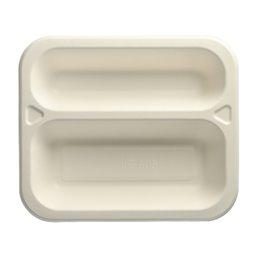 """Topseal Menuschalen Suikerriet """"Pure"""" Rechthoek 2-Vaks Wit 250 x 212 x 42mm"""