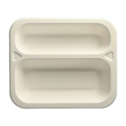 "Topseal Menu Trays Sugarcane ""Pure"" Rectangular 2-compt. 212 x 250 x 42mm White"