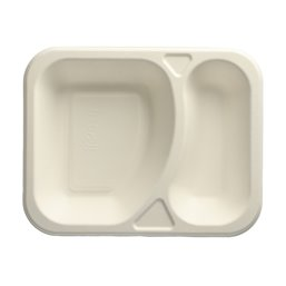 "Topseal Menu Trays Sugarcane ""Pure"" Rectangular 2-compt. 185 x 235 x 42mm White"