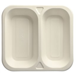 "Topseal Menu Trays Sugarcane ""Pure"" Rectangular 2-compt. STRAIGHT 245 x 265 x 42mm White"