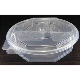 Ripboxx Meal tray 528cc + 230cc + 180cc 3-Compartment PP Transparent With Tear-off hinged lid
